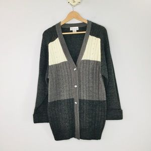 Vintage Chamonix cable knit long grandpa cardigan